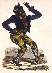 "Sketching of Thomas D Rice in blackface performing ""Jump Jim Crow"" (ca. 1830)"