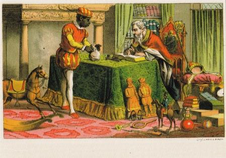Sinterklaas and Zwarte Piet postcard (ca. 1860)